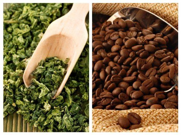 кофе и зеленый чай