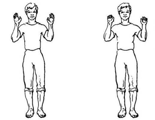 упражнение ладони-кулачки